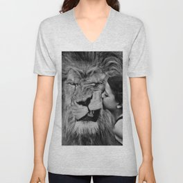 Grouchy Lion being kissed by brunette girl black and white photography Unisex V-Neck