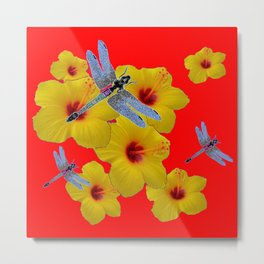 YELLOW HIBISCUS BLUE DRAGONFLIES RED ART Metal Print
