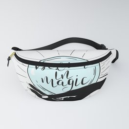 Believe in magic.Hand holding crystal ball. Fanny Pack