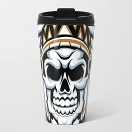 skull indian chief with feather hat Travel Mug