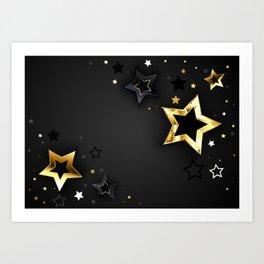Gray Background with Black Stars Art Print
