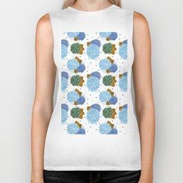 Blue green watercolor hydrangea flowers polka dots Biker Tank