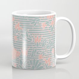 Lovely Pastel Pink and Green Flowers on Fine Stripes Coffee Mug