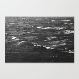 Black and white photo of a stormy sea Canvas Print