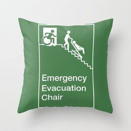 Accessible Means of Egress Icon, Emergency Evacuation Chair Sign Throw Pillow