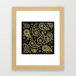 Paisley Funky Design Black and Gold Framed Art Print