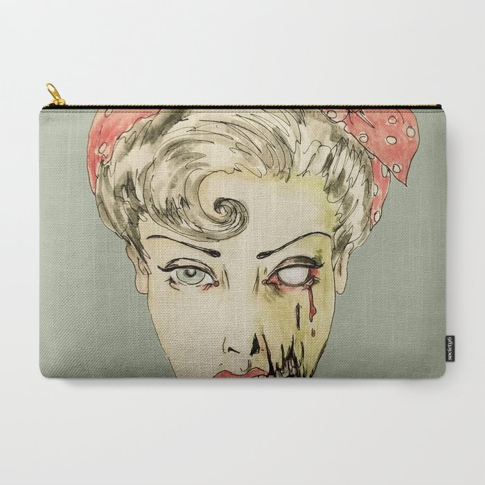 zombie_pinup_retro_housewife_horror_rockabilly_scarf_wearing_strong_woman_CarryAll_Pouch_by_Mockingbird_Art__Large_125_x_85