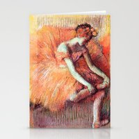 degas Stationery Cards featuring Peach Ballerina by PureVintageLove