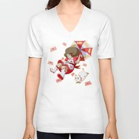 bee and puppycat V-neck T-shirts featuring Bee and Puppycat by Artist Meli