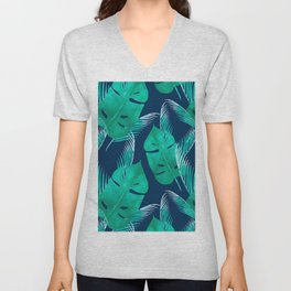 TROPICAL PATTERN BANANA LEAVES WATERCOLOR Unisex V-Neck
