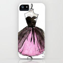 Pink and Black Sheer Dress Fashion Illustration iPhone Case