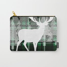 Green Plaid with Deer: Holiday Print Carry-All Pouch