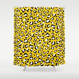 Animal Print, Spotted Leopard - Yellow Black Shower Curtain