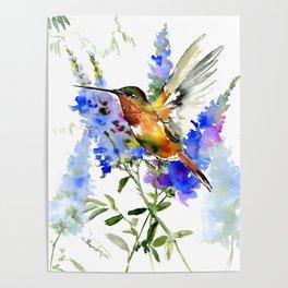 Alen's Hummingbird and Blue Flowers, floral bird design birds, watercolor floral bird art Poster