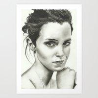 emma watson Art Prints featuring Emma Watson by Meliese Reid