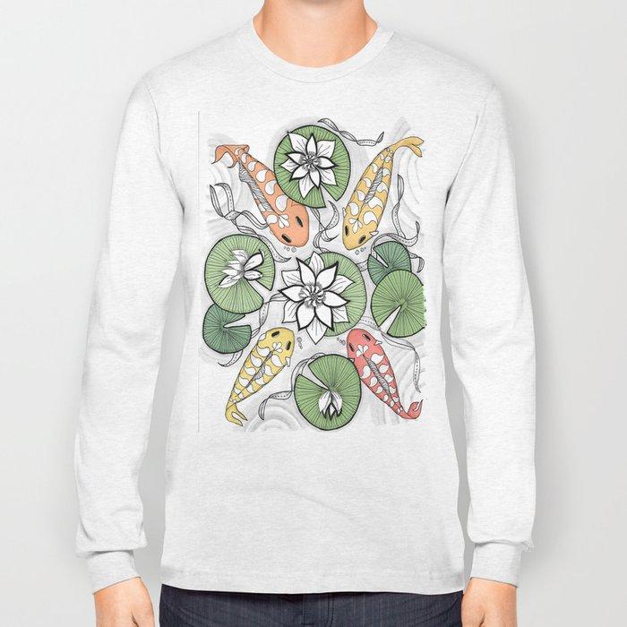 Koi Reunion - Zentangle Illustration Long Sleeve T-shirt