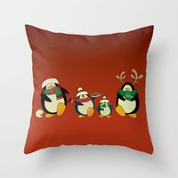 cartoons Throw Pillows featuring Penguin family  by mangulica
