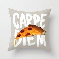 carpe diem Throw Pillows featuring Carpe Diem by Vaughn Pinpin