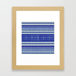 nordic pattern with singing birds in blue Framed Art Print
