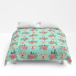 Yellow Labrador Retriever floral bouquet flowers yellow lab dog breed pattern gifts Comforters