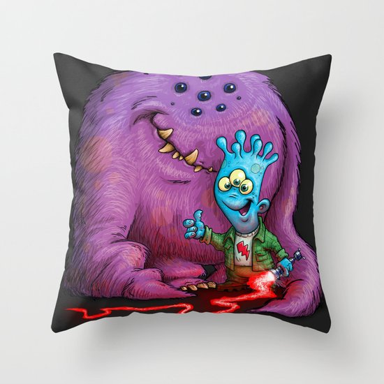 A boy and his Grogg Throw Pillow