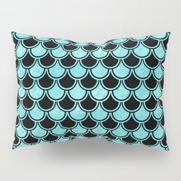 Mermaid Scales Blue Turquoise Teal on Black Pillow Sham