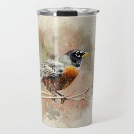 American Robin Watercolor Art Travel Mug