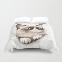 Grumpy Watercolor Cat Animals Meme Geek Art Duvet Cover