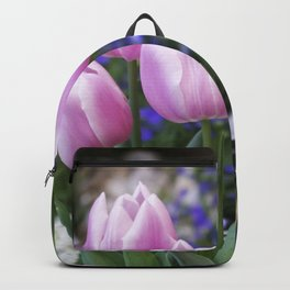 Spring gathering of pink tulips Backpack
