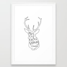 Merry Christmas Deer (2) Framed Art Print