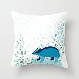 Blue Badger Throw Pillow