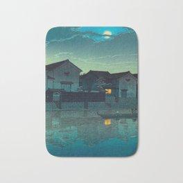 Kawase Hasui Vintage Japanese Woodblock Print Japanese Village Under Moonlight Cloudy Sky Bath Mat