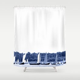 Dutch sailing boats in Delft Blue colors Shower Curtain