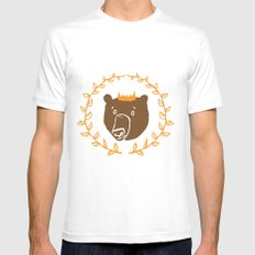 King of the Bears MEDIUM White Mens Fitted Tee