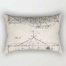 Wright Brother's Airplane Patent - Aviation History Art - Antique Rectangular Pillow