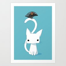Cat and Raven Art Print