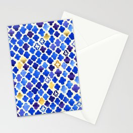 Rustic Watercolor Moroccan in Royal Blue & Gold Stationery Cards