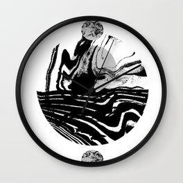Marble spilled ink suminagashi minimal black and white dorm college outer space marbling Wall Clock