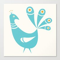mid century Canvas Prints featuring Mid Century Peacock by Amy Newhouse