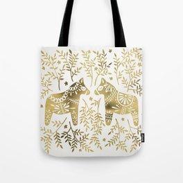 Swedish Dala Horses – Gold Palette Tote Bag