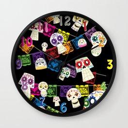 Skulls y Papel Picado Wall Clock