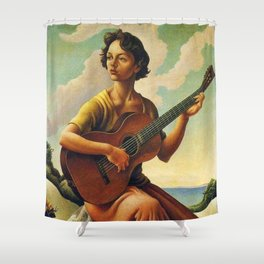 Classical Masterpiece 'Jesse with Guitar' by Thomas Hart Benton Shower Curtain