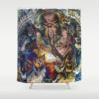 ganesh Shower Curtains featuring Fabulous Ganesh by CrypticFragments Design