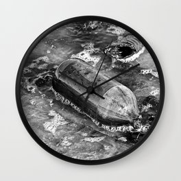 Rushing Bottle: Black and White Wall Clock