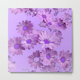 Pinkish Lilac Color Purple Daisy Flowers Garden Metal Print