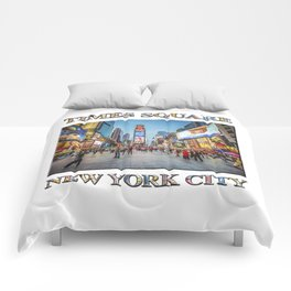 Times Square Sparkle (with typography) Comforters