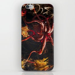Blooming Crimson Octopus iPhone Skin