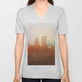 Jacksonville, Florida Skyline - In the Clouds Unisex V-Neck