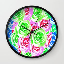 colorful rose pattern abstract in pink blue green Wall Clock