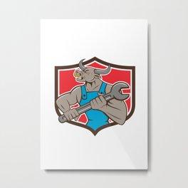 Mechanic Minotaur Bull Spanner Shield Cartoon Metal Print